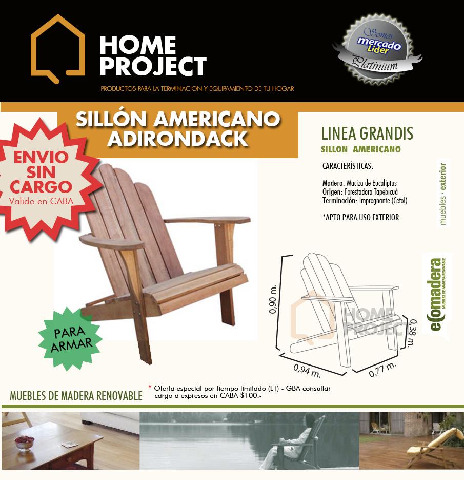 Sill n de madera adirondack grandis jardin exterior for Sillon madera exterior